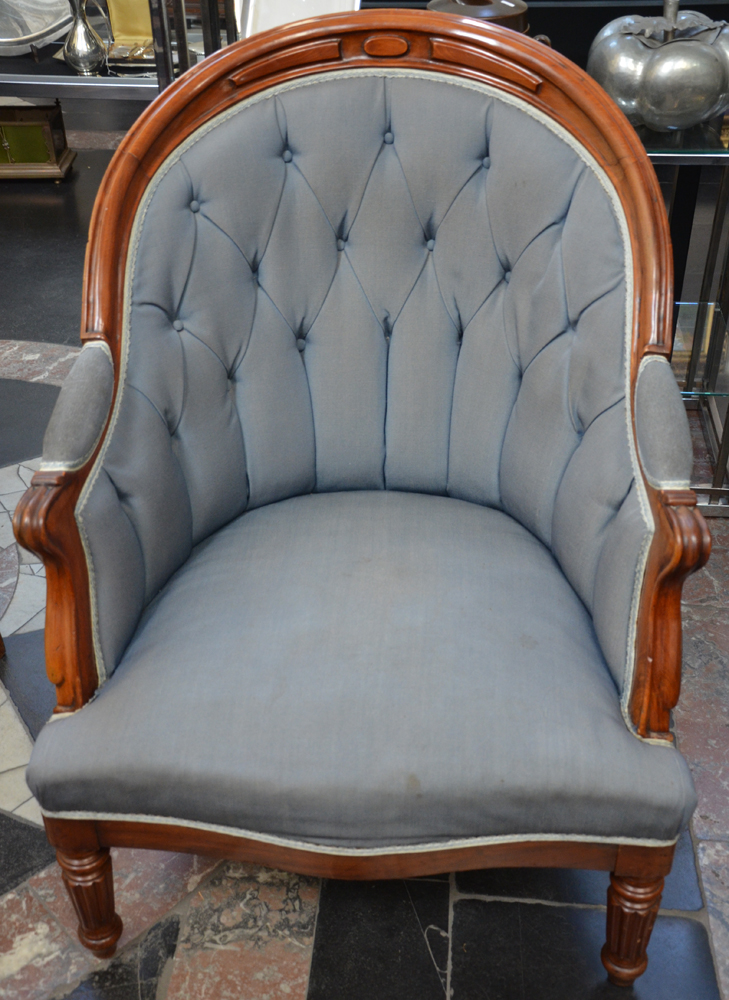 A pair of Louis-Philippe mahogany arm chairs — <p>the upholstery in reasonable condition, needs a clean</p>
