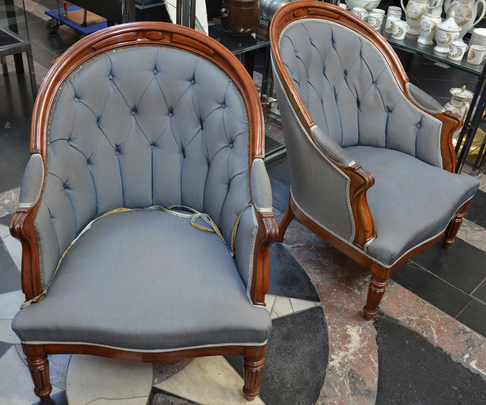 A pair of Louis-Philippe mahogany arm chairs — <p>View from the left</p>