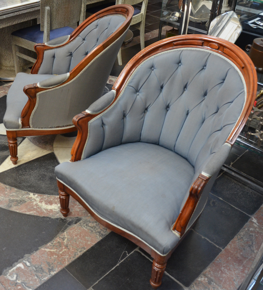 A pair of Louis-Philippe mahogany arm chairs — <p>Alternate view</p>