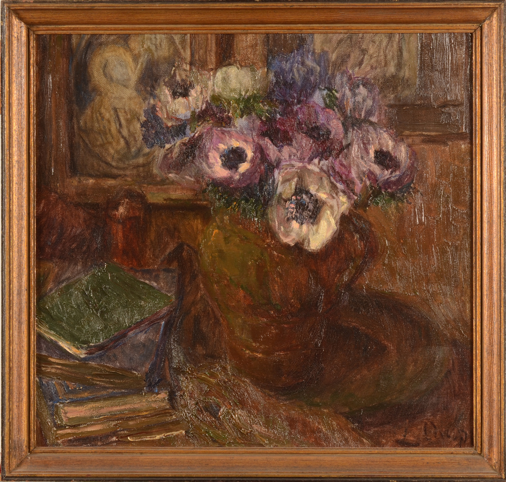 Louise Coupé, anemones and books — With frame<br>