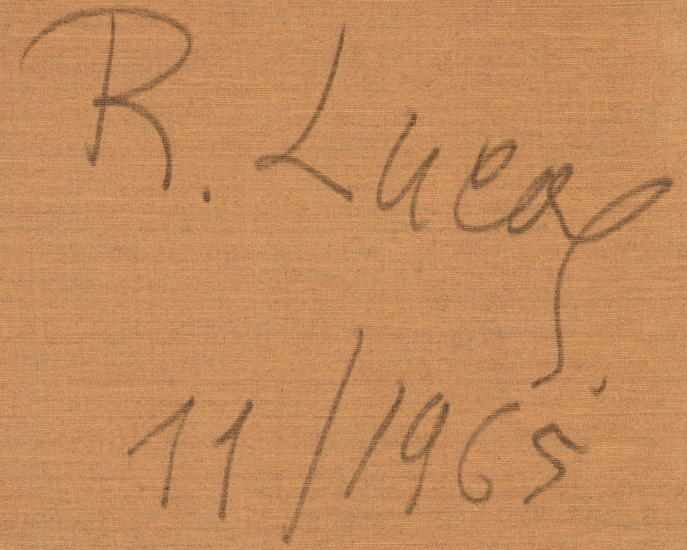 Richard Lucas — signature of the artist and date, at the back of the canvas
