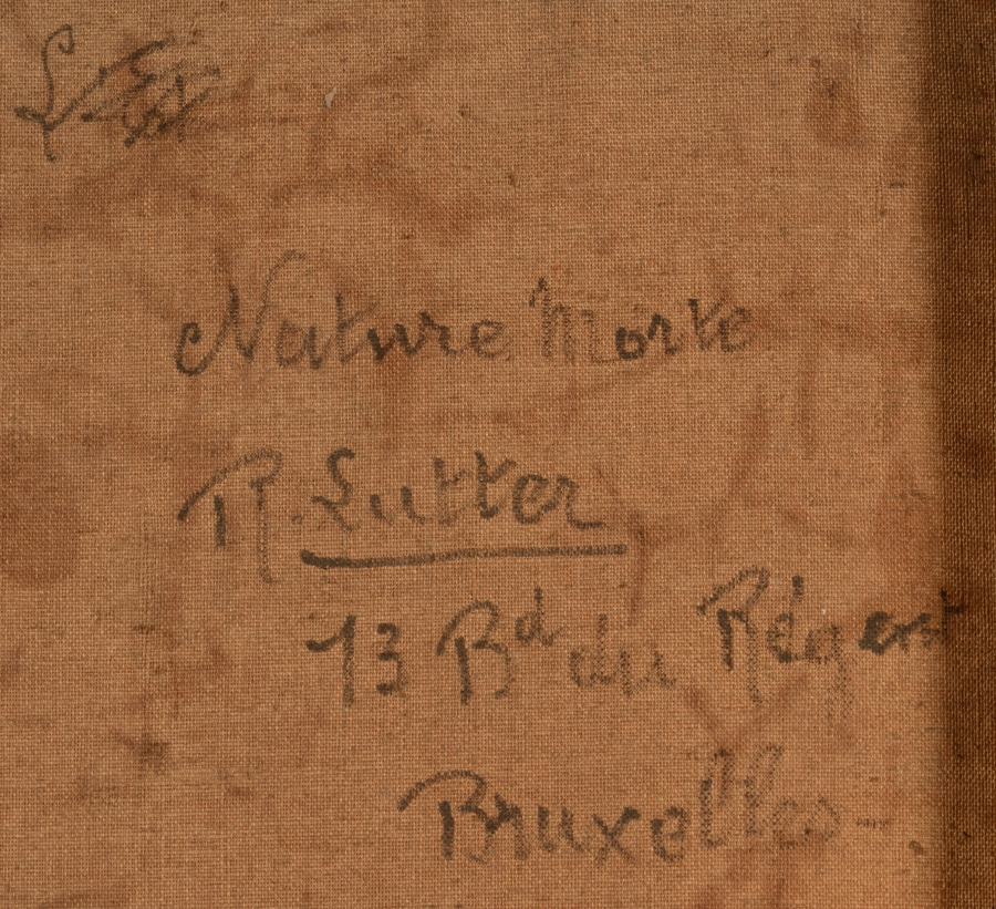 Rodolphe Lutter — Detail of the signature and the adress of the painter written on the back of the canvas