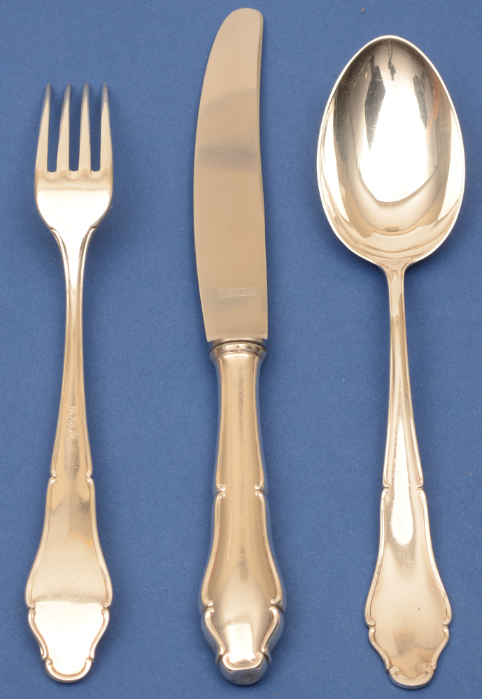 Lutz und Weiss — Silver eating fork, knife and spoon (knife showing back)