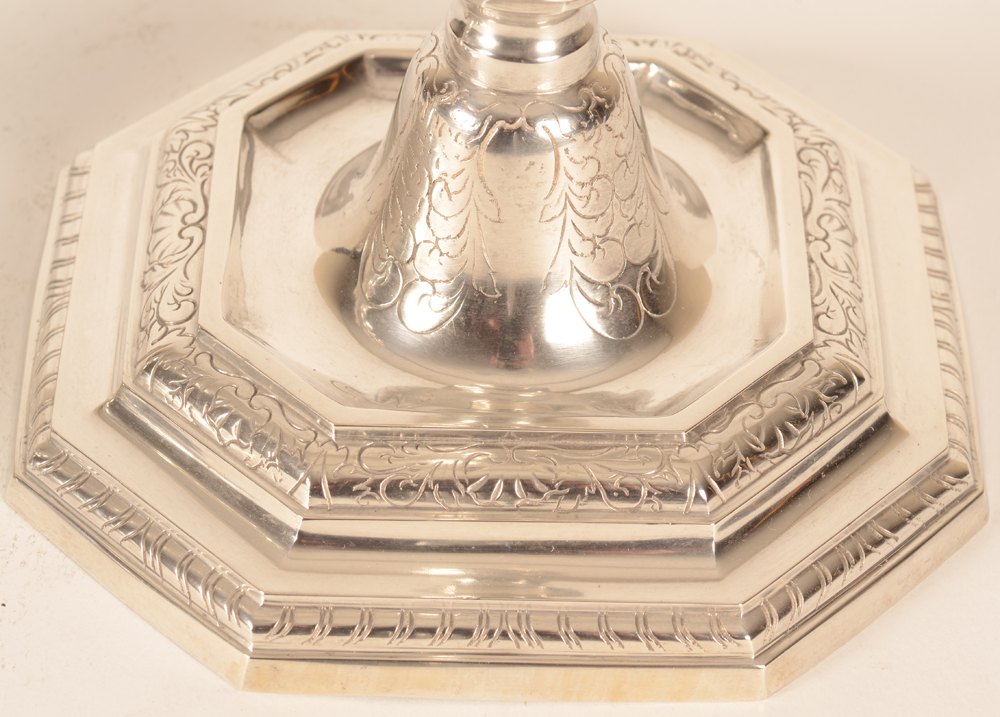 L XIV silver candlesticks — Detail of the base, showing the chasing