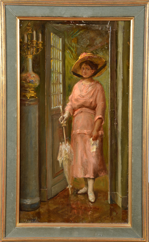 Eduard Mallentjer — Dressed for a Sunday outing, signed and dated 1919.