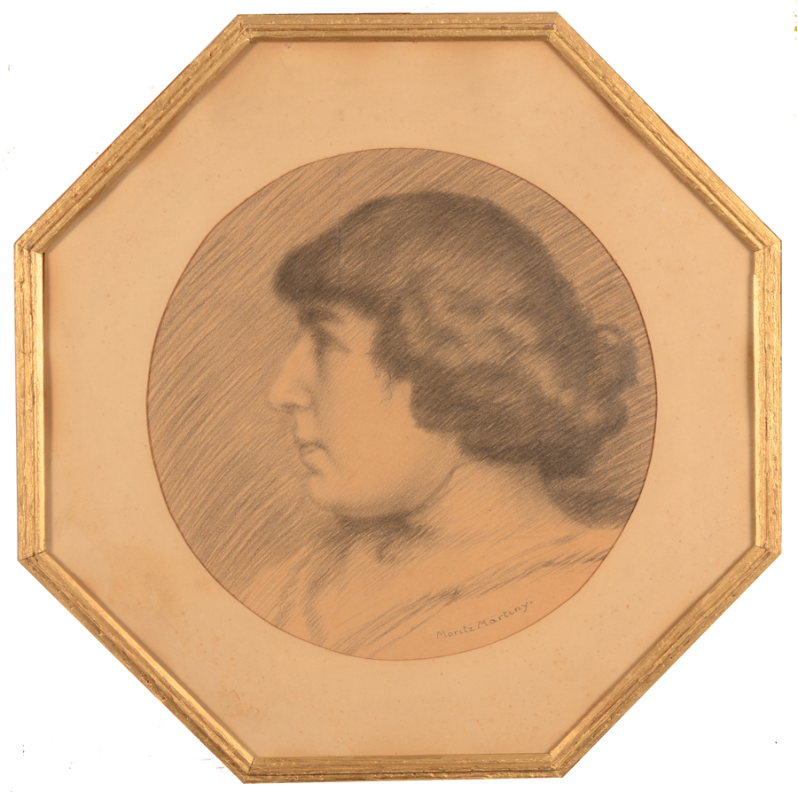 Maurice Martiny  — The drawing in its original but damaged frame