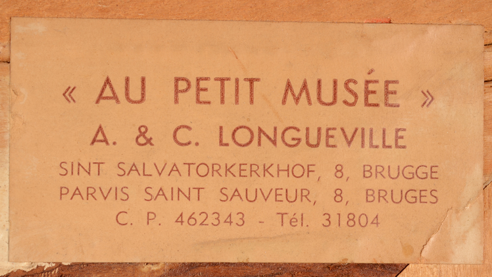 Leo Mechelaere — <p>Label of a Bruges gallery, probably the original seller of the painting</p>