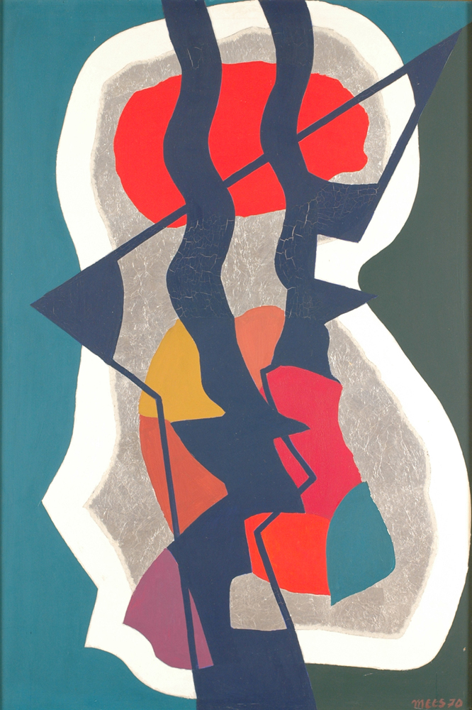 Jozef Mees — A typical abstract composition from 1970, with use of silver foil.