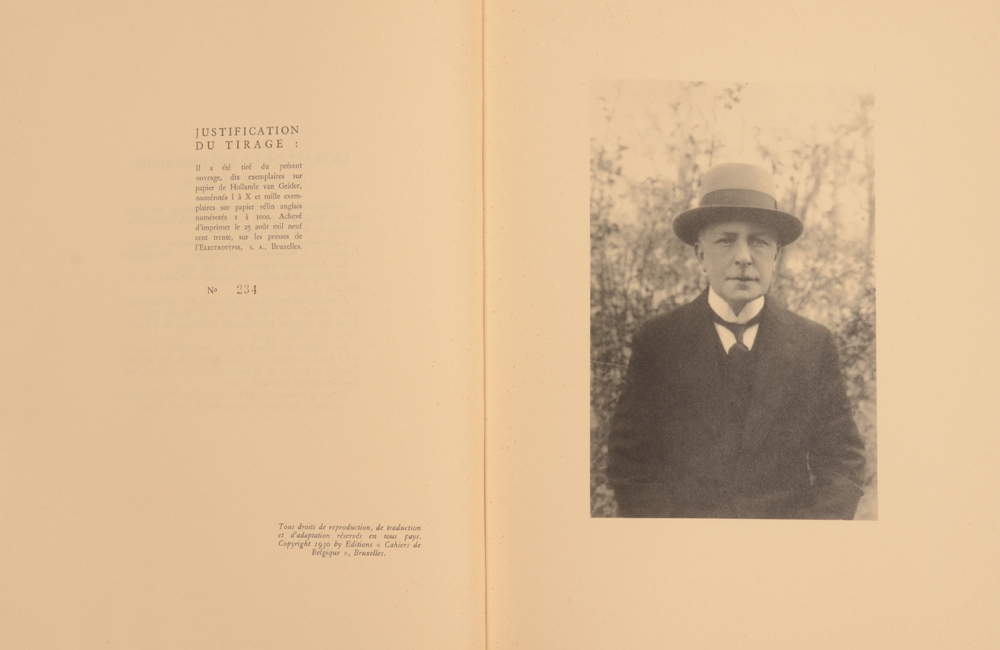 George Minne — Justification page and portrait of the artist