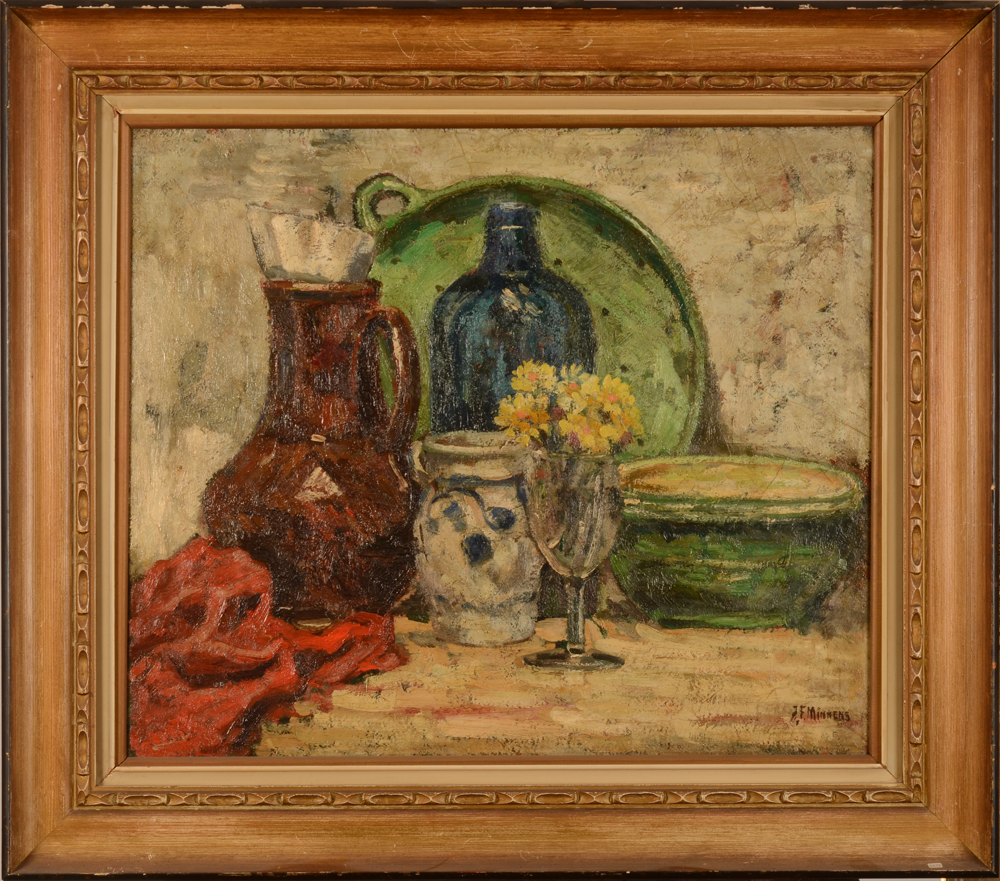 J. F. Minnens — the painting in its slightly damaged frame