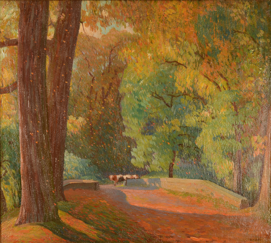 Guillaume Montobio the lane at Ooidonk castle — Fauvist oil on canvas
