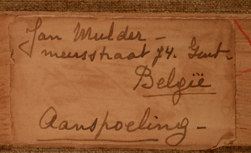 Jan Mulder — Original label on the strecher written by the artist with title in Dutch