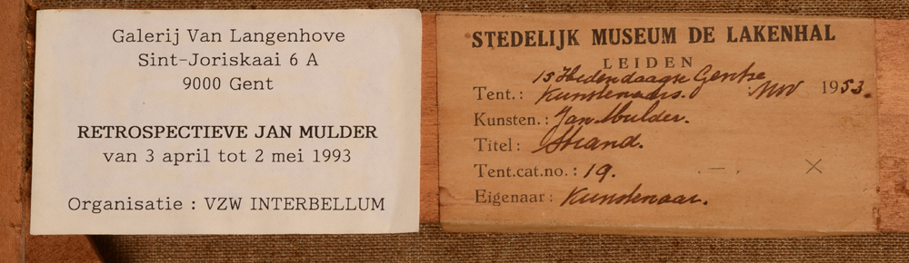 Jan Mulder — Exhibition labels on the strecher