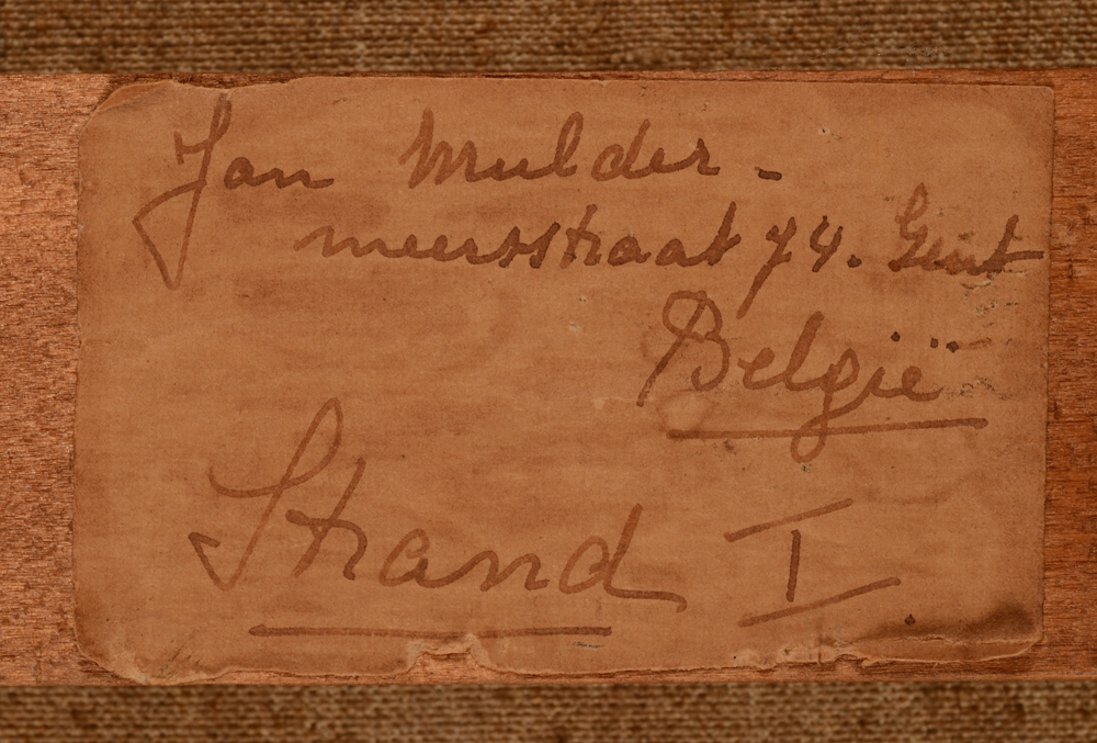 Jan Mulder — Original label on the stretcher, written by the artist, with title in Dutch