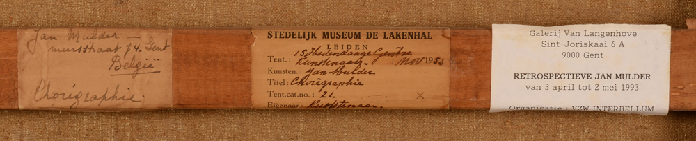 Jan Mulder — Labels on the back of the strecher; original label with title and exhibition labels