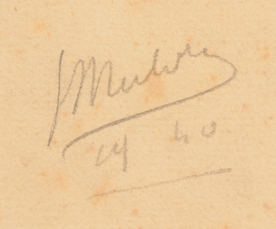 Jan Mulder — Signature of the artist and date 1940.<br>