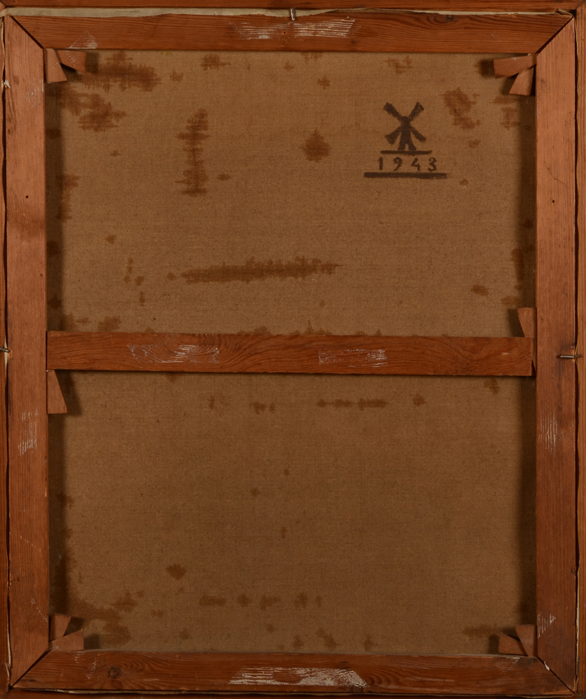 Jan Mulder — Back of the painting with date and windmill logo
