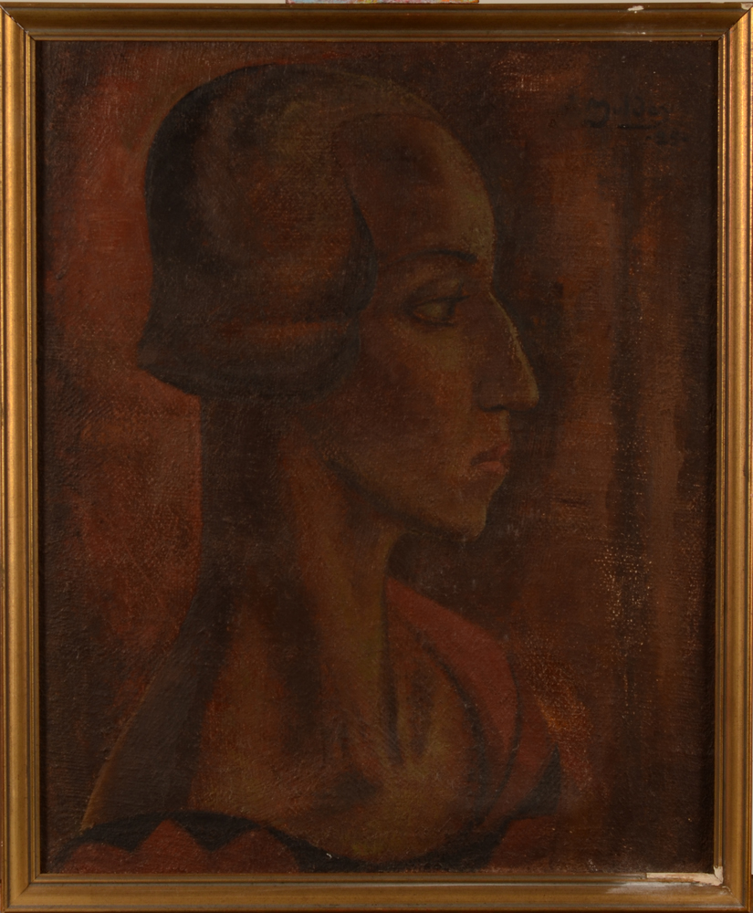 Jan Mulder — Portrait d'une fille en profile, daté 1925