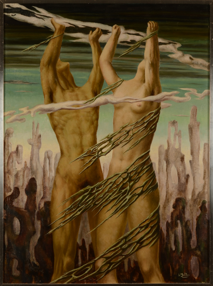 Jan Mulder surrealist couple — surrealist couple, oil on canvas