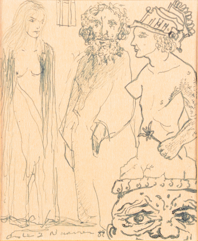 André Naessens — The painter and the muses, ink drawing, signed and dated 1982