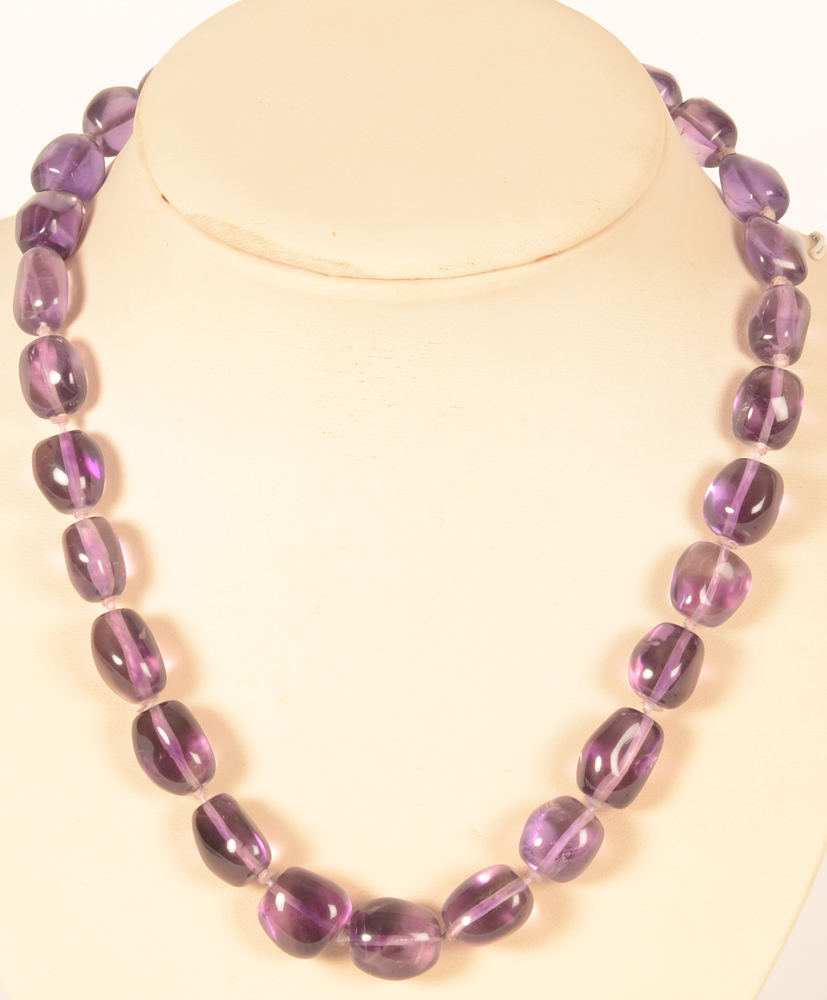 Vintage amethist necklace — <p>with oblong dark purple beads</p>