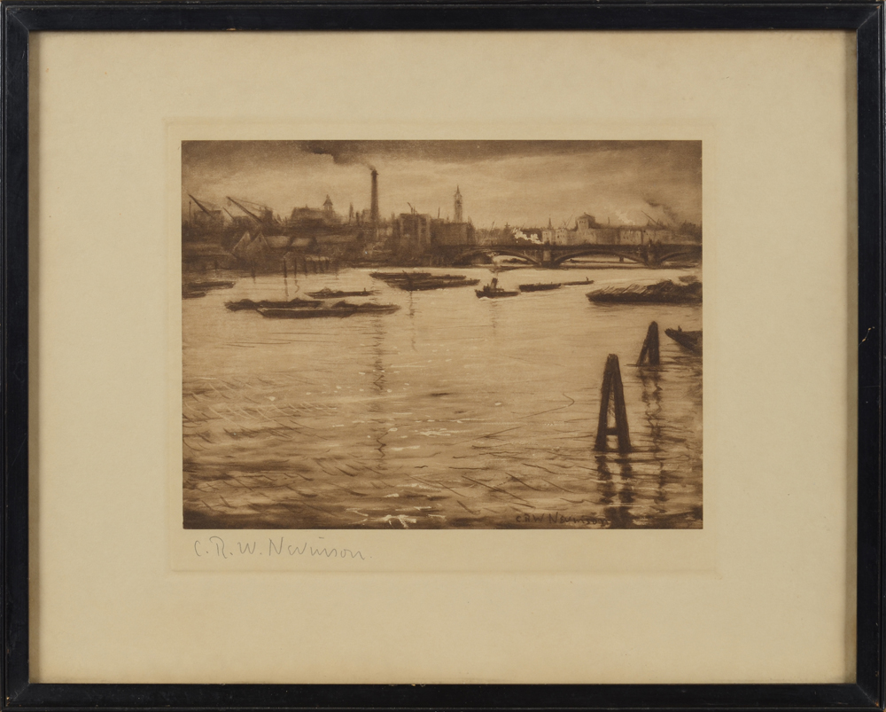 C.R.W. Nevinson — The Thames at Blackfriars, heliograph