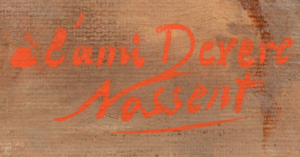 Nossent — Signature of the artist and dedication 'à l'ami Devere' bottom left