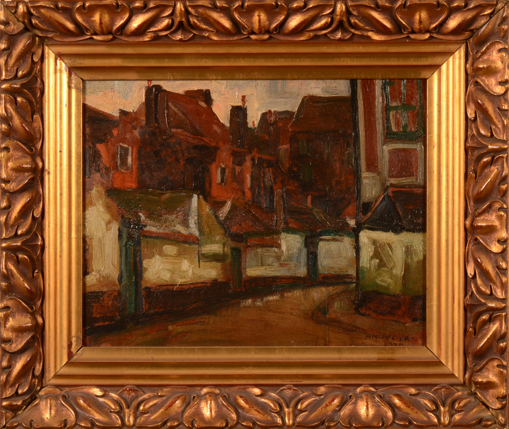 Henri Nuyttens — The painting in its art nouveau style frame