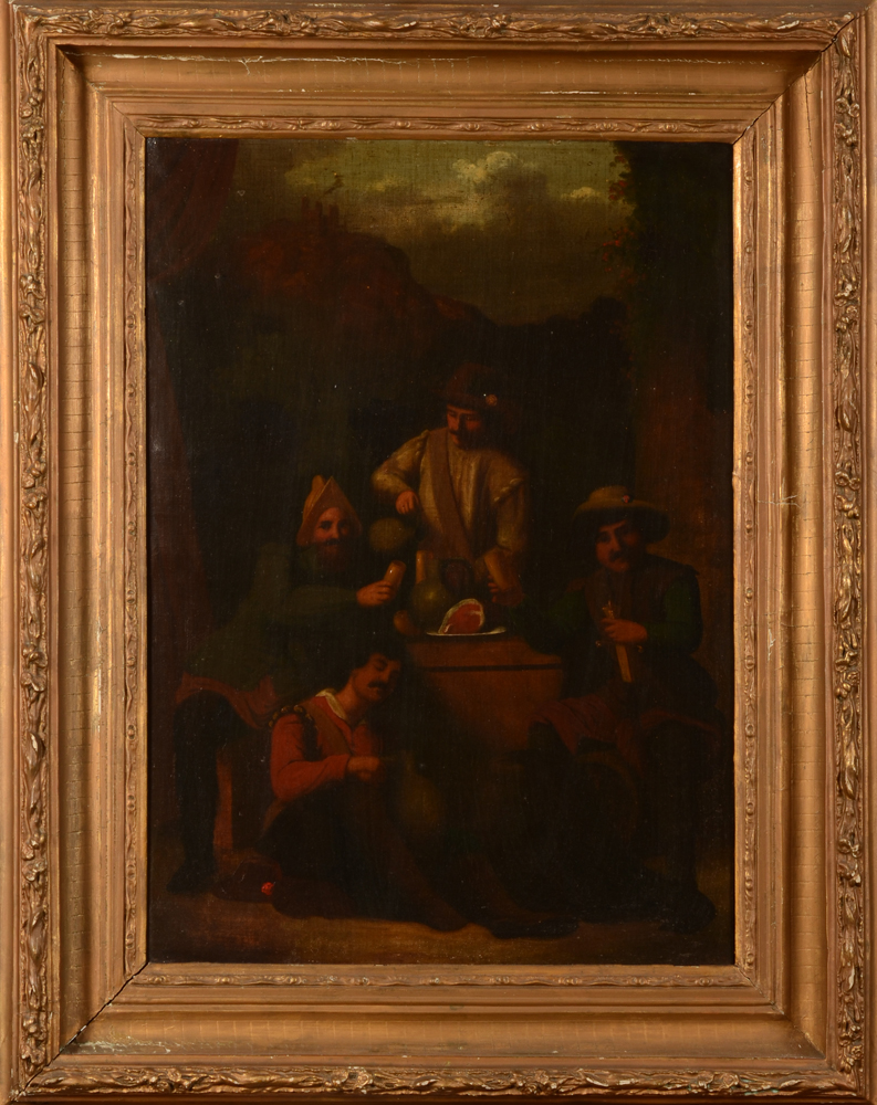 Old master copy — A decorative and early 19th century old master copy in the style of Teniers or Brouwers, oil on canvas