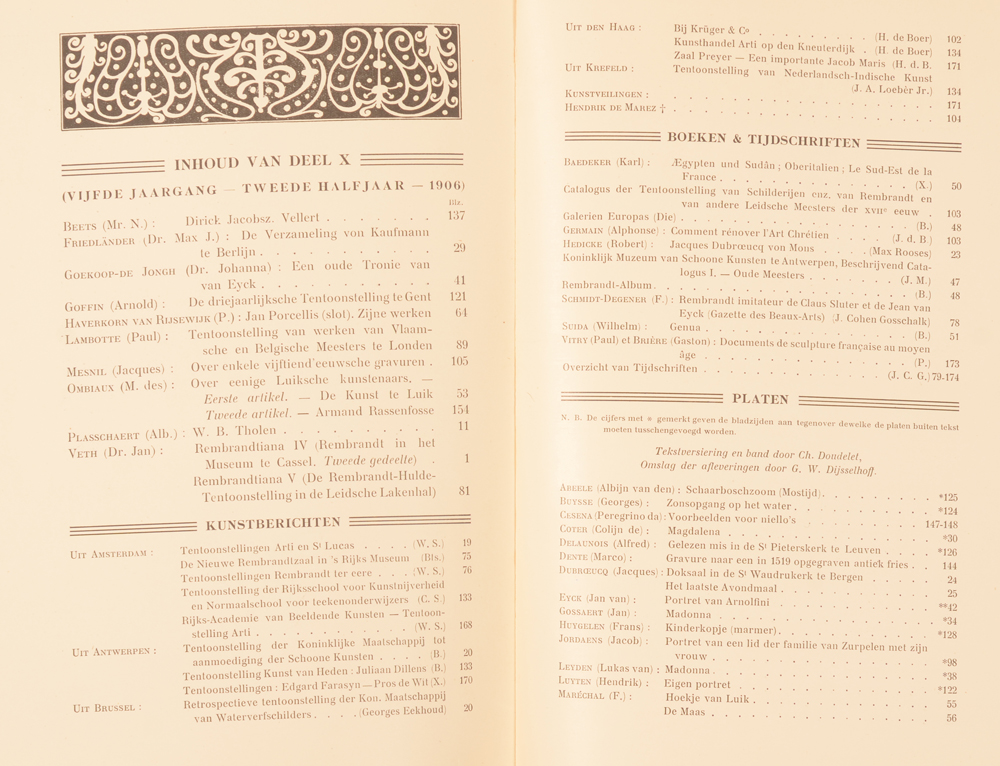 Onze Kunst 1906 — Table of contents second half