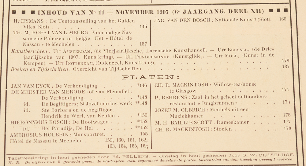 Onze Kunst 1907 — Table of contents November