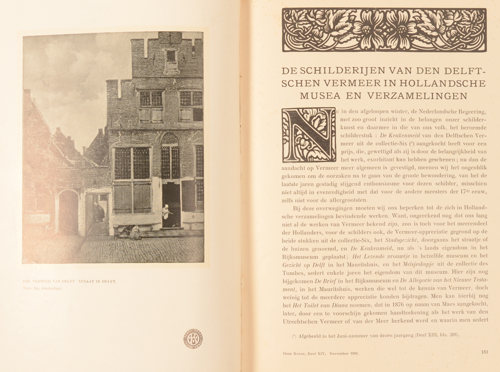 Onze Kunst 1908 — Article on Vermeer