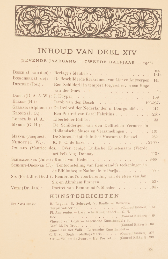 Onze Kunst 1908 — Table of contents