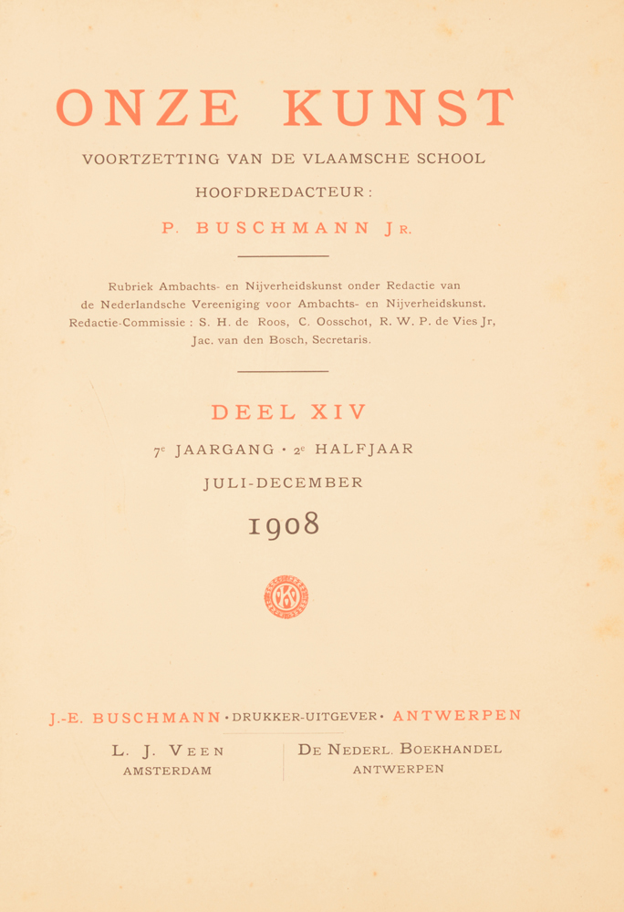 Onze Kunst 1908 — title page 2nd half year