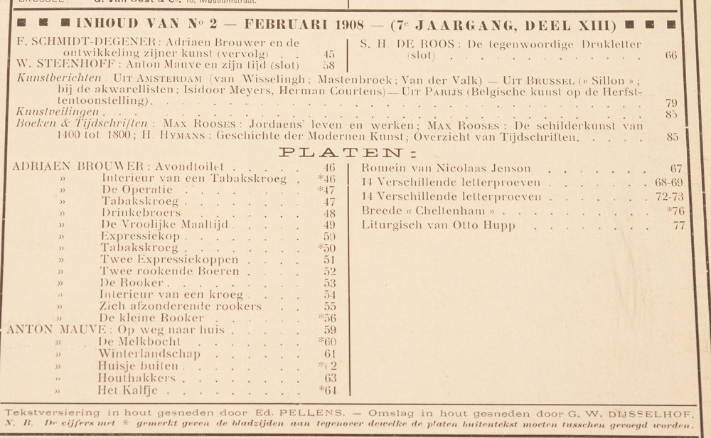 Onze Kunst 1908 — Table of contents February