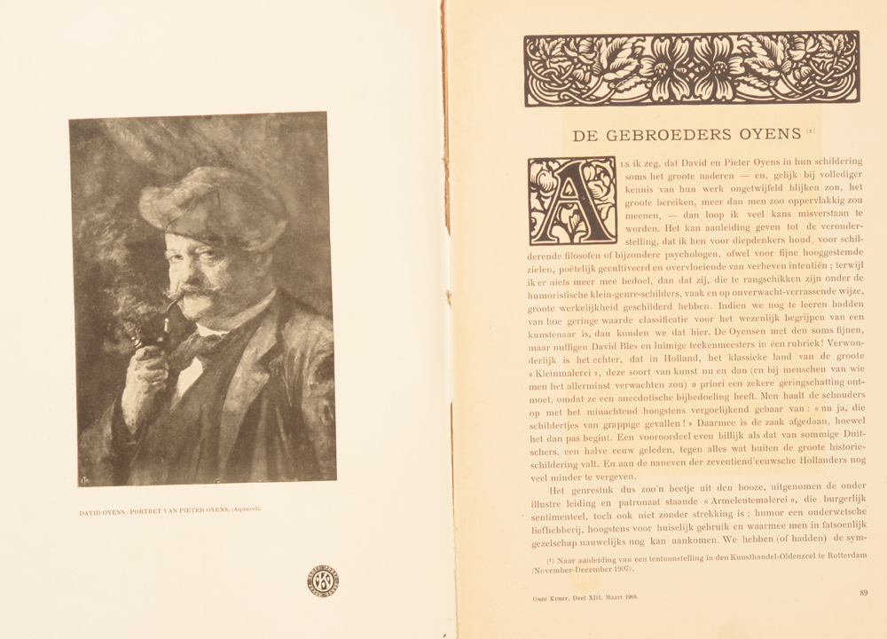 Onze Kunst 1908 — Article on the Oyens brothers