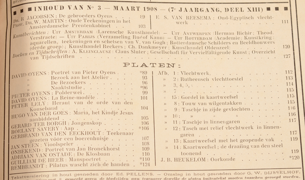 Onze Kunst 1908 — Table of contents March