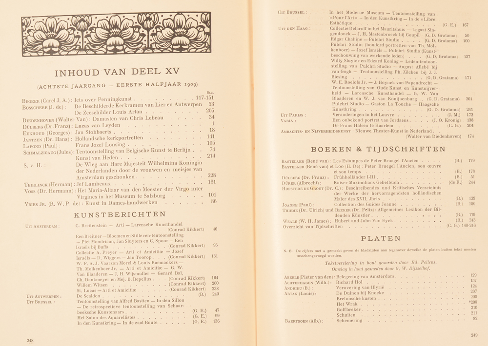 Onze Kunst 1909 — Table of contents first half
