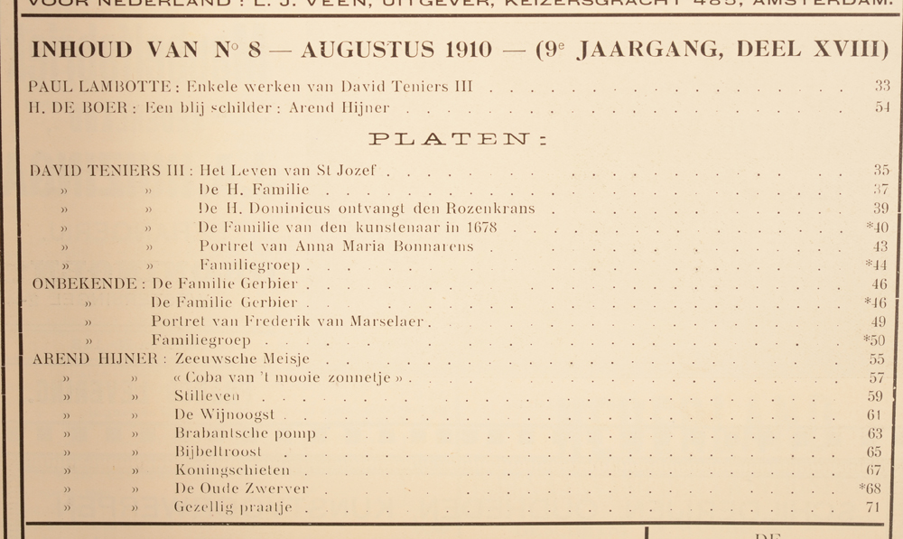 Onze Kunst 1910 — August table of contents