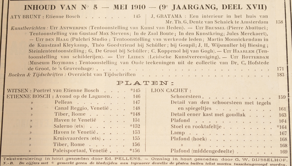 Onze Kunst 1910 — Table of contents May