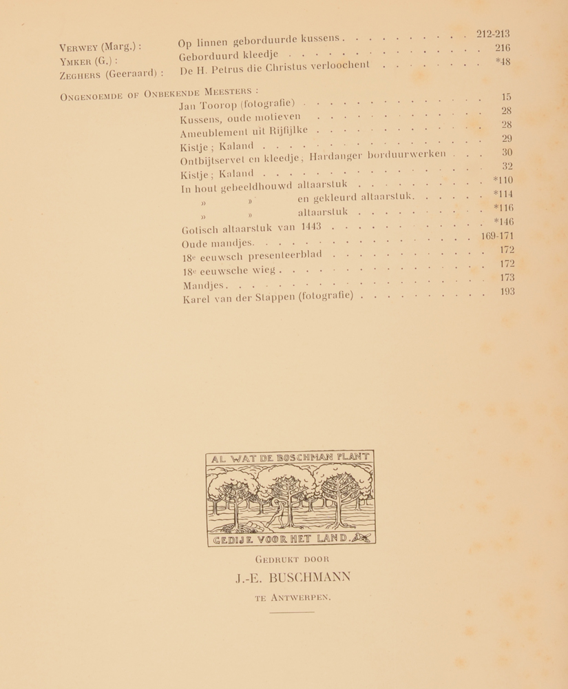 Onze Kunst 1911 — Table of contents end of 1st half year