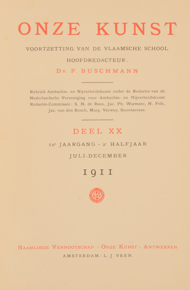 Onze Kunst 1911 — Title page of 2nd half year