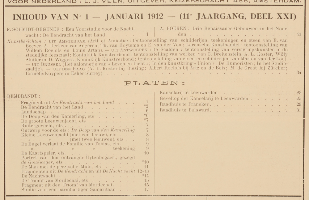 Onze Kunst 1912 — Table January issue