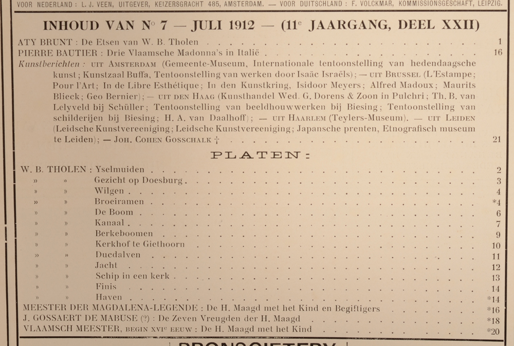 Onze Kunst 1912 — Table July