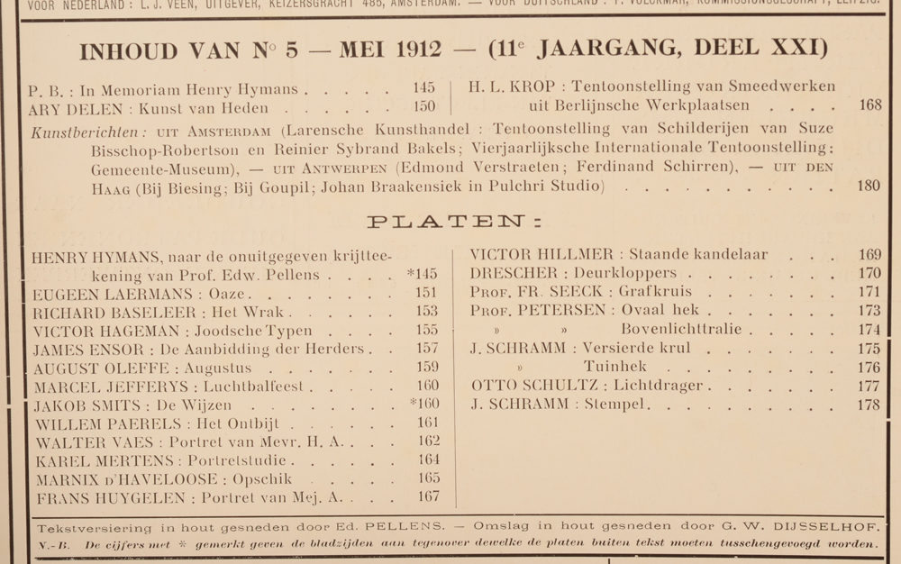 Onze Kunst 1912 — Table of contents May