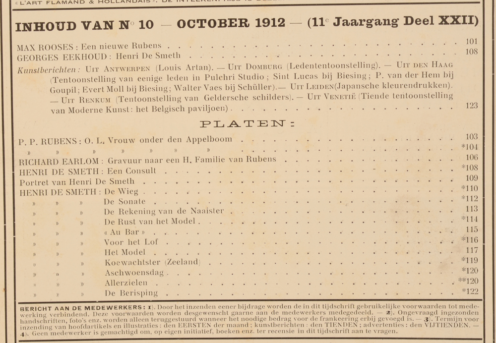 Onze Kunst 1912 — Ocotber issue table