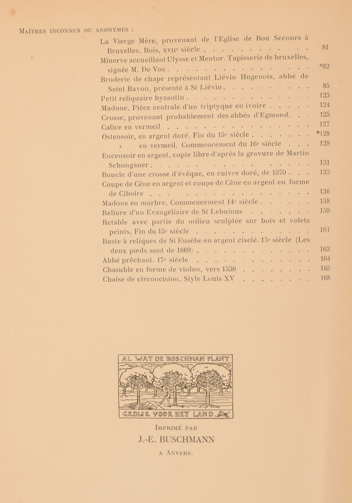 Art Flamand et Hollandais 1913 — End of the table of contents of the 2nd half year