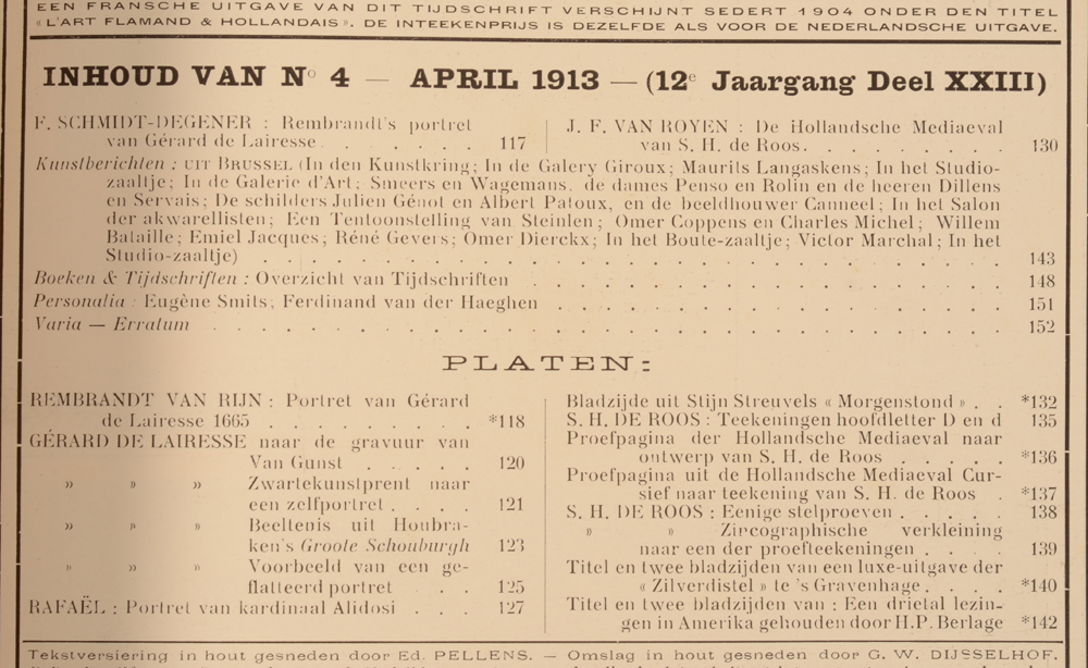 Onze Kunst 1913 — April issue table