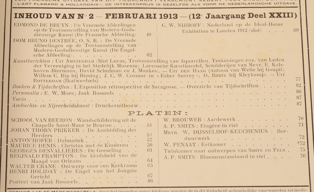 Onze Kunst 1913 — Table February issue
