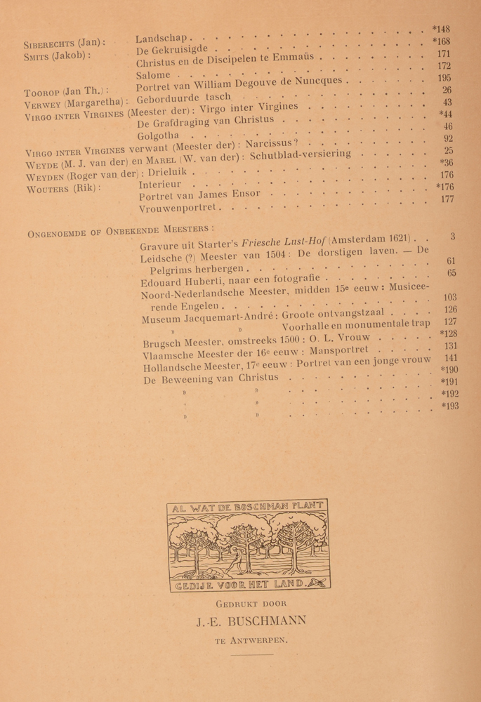 Onze Kunst 1914 — End of table of 1st half year